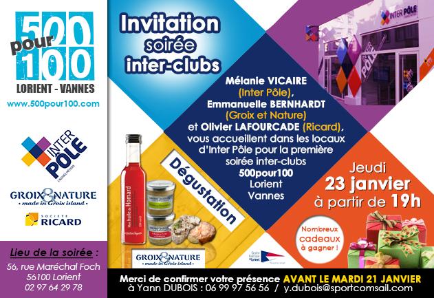 Invitation soiree 500pour100, Interpole Groix et Nature